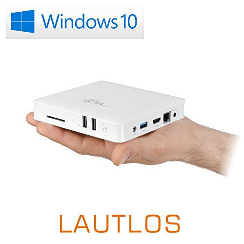 Mini PC - lautlose CSL Narrow Box 4K / Win 10 weiß - Silent-PC mit Intel QuadCore CPU 1840MHz, 32GB SSD, Intel HD, WLAN, USB 3.0, HDMI, SD, Bluetooth, Windows 10