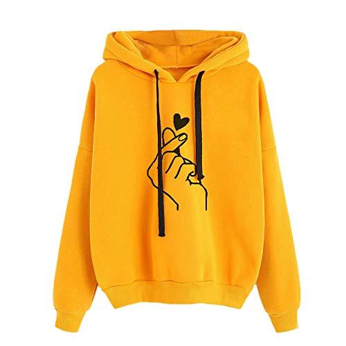 YIKEYO Felpe Ragazza Tumblr Donna Felpe con Cappuccio e Coulisse Mano e Cuore Stampa Sportivo Hoodie Streetwear Sweatshirt Casual Abbigliamento Autunno Invernale 2020