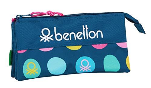 safta 812050744 Estuche portatodo Triple Escolar Benetton, Azul