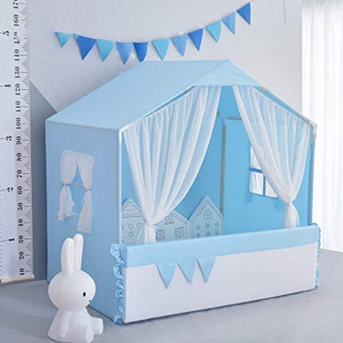 Kinder-Zelt, Zelt Indoor-Spielhaus Large Size-Kind-Spielzeug Little Princess Mädchen Jungen-Bett mit Zaun Baby-Geschenke (95X135x140cm),Blau