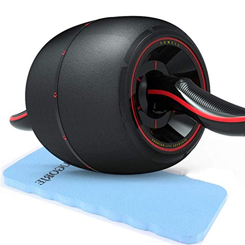 Jsmhh Übungs-Rolle, Breitere Ab Workout Roller-Bauchtrainer Roller for Bauch-Übung Core Training Trainer zu Hause Gym (1PC Core-Rad mit 1 PC-Knie-Auflage) FL14 sit up trainingsgert (Color : Red)
