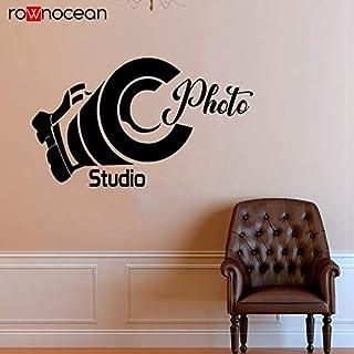 zhuziji Diseño Creativo Cámara Estudio fotográfico Calcomanías Vinilo Decoración para el hogar Etiqueta de la Pared Película autoadhesiva Ventana Mural 86.4x50.4cm