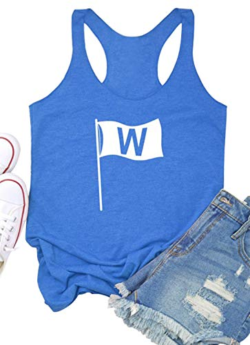 Womens Win Flag Graphic Racerback Tank Tops Funny Chicago Sleeveless Tank Tops 4th July Patriotic Vest Tees Blouse (Blue, XL)