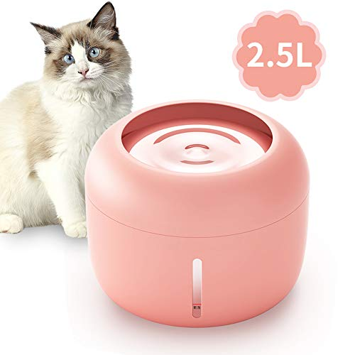 One To One Pets Cat and Dog Water Fountain, 84oz/2.5L Automatic Cat Water Fountain Dog Water Dispenser. (Pink)