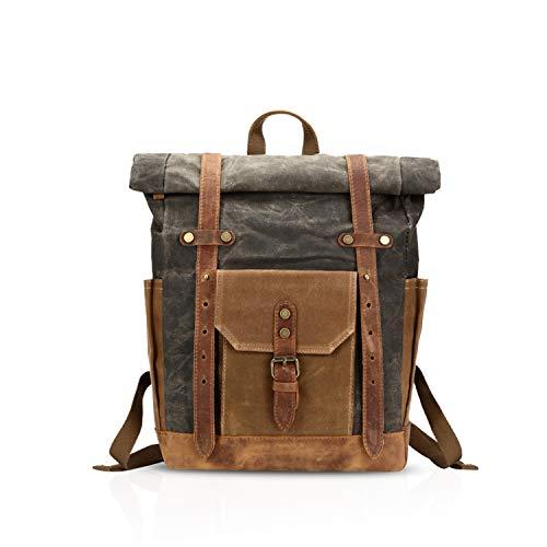 FANDARE Moda Impermeable Bolso de Escuela Viaje Mochila Hombres 15.6 Pulgadas Laptop Backpack Outdoor Camping Gran Capacidad Rucksack Lona Gris