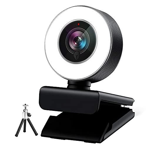 Webcam 1080P Full HD con Micrófono Y luz de Anillo, USB Web Camera con Trípode Cámara Web para Youtube Skype Zoom Xbox Aprendizaje Videoconferencia y Videollamada