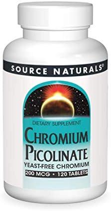 SOURCE NATURALS Chromium Picolinate 200 Mcg Tablet, 120 Count