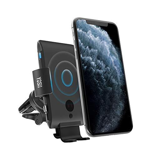 YOSH Kabelloses Auto Ladegerät, Qi 10W/7.5W Qi Schnellladung Automatisches Spannen Auto Entlüftung Halterung für Samsung Galaxy S9/S9+/S8/S8+/Note 8/5/ Apple iPhone 12/12 Pro Max/11/XS/Max/XR