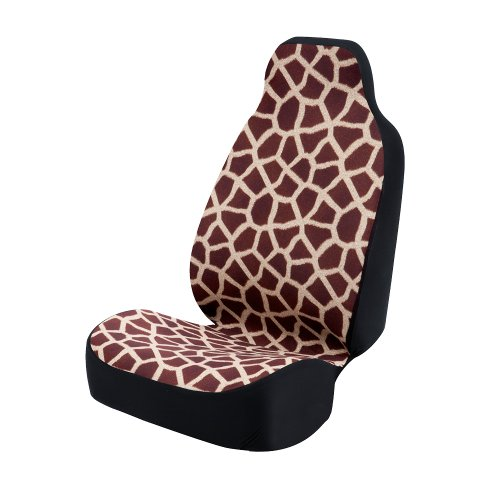 Coverking Universal Fit 50/50 Bucket Animal Fashion Print Seat Cover - Giraffe (Wine)