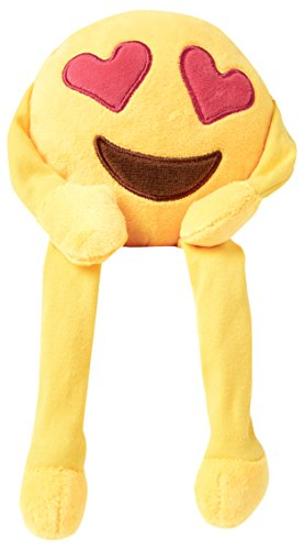 Heart Eyes emoji Shelf Buddy - Super Soft, Super Cuddly buddy also known as Heart Face or Face with Heart-Shaped Eyes. This is a large emoji or emoticon buddy from Love Bomb Cushions