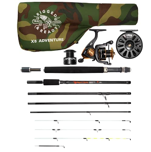 The X5 Adventure Travel Fishing KIT. 5 Fishing RODS in ONE. Interchangeable Spin, Fly, Bait, Travel Fishing Rod and 2 reels. for Fly Fishing, Saltwater Fishing and Much More, All in a Compact Format!