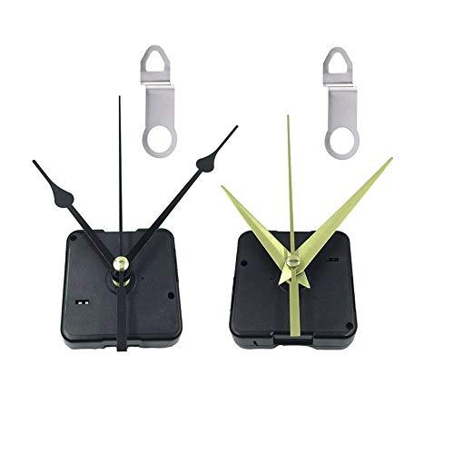 Aweisile Conjunto Movimiento de Cuarzo 2 Maquinaria de Reloj con Agujas Negro e Oro Mecanismo Reloj de Pared con conexión para reloj de pared, reparación de piezas de repuesto