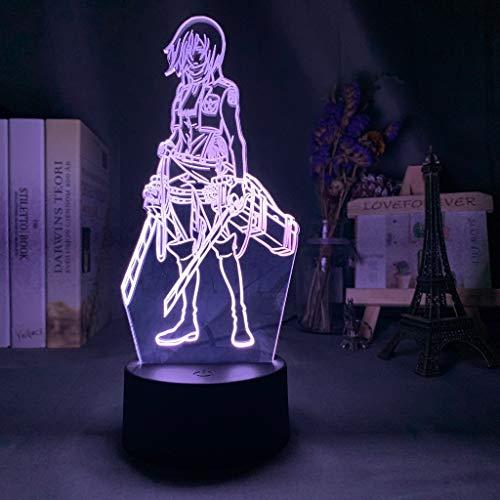 3D Night Light Attack on Titan Mikasa Ackerman Figure Girl Nightlight for Dorm Room Decor Light Led Usb Battery Lamp Event Prize