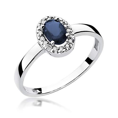 Damen Ring 585 14k Gold Weißgold echt Saphir Edelstein Diamanten Brillanten