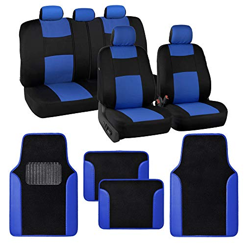 BDK PolyPro Blue Car Seat Covers Full Set with 4-Piece Car Floor Mats - Two-Tone Universal Fit Seat Covers for Cars with Carpet Floor Mats, Seat Protector Interior Accessories for Auto Truck SUV