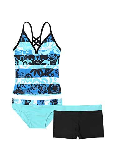 Choomomo Kinder Mädchen Badeanzug Tankini Bikini Set Tank Top Oberteil + Biniki Slip + Rock Kinder Schwimmanzug Badebekleidung Blau A 176