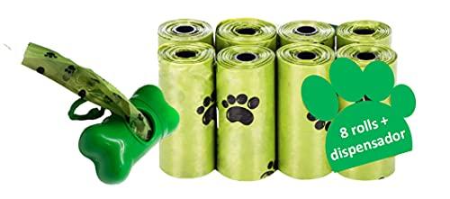 SANTER LABS Bolsas para Excrementos Residuos Caca Perros Gatos Mascotas Extrafuerte A Prueba de Fugas (33x22 cm) (120 Bolsas+Dispensador (8 Rollos))
