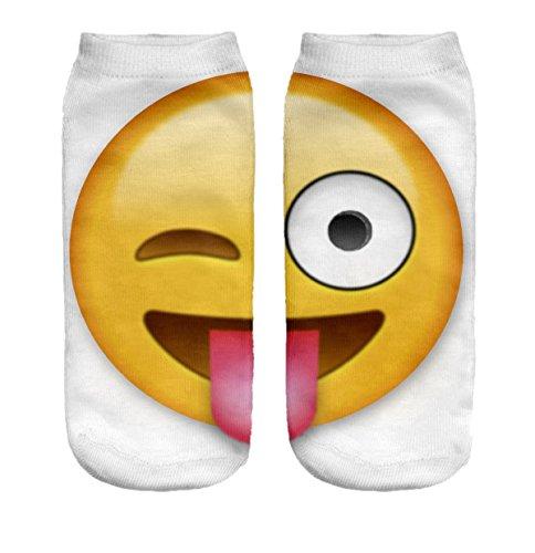 Ferocity Lustige Socken Sneaker Halbsocken Strümpfe Sportsocken Füßlinge mit Motiv 3D, Emoji Tongue Big, 36 - 40