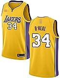 Ropa Camisetas de baloncesto para hombres, NBA Los Angeles Lakers # 34 Shaquille O'Neal, Classic Transpirable Quick-Secking Chaleco Comfort Camiseta sin mangas Uniformes Tops, Amarillo, XXL (185 ~ 195
