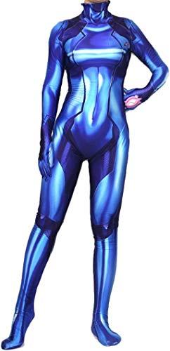 Hideaway Zero Suit Samus Style Costume [ XS,S,M,L,XL ] Spandex Blue Color 3D Printed Bodysuit (Large (Height:5'7