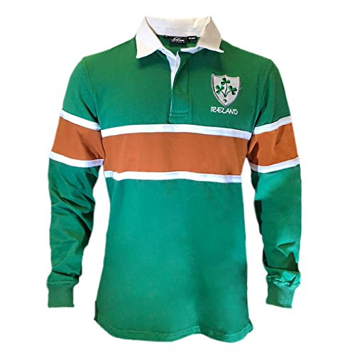 Celtic Clothing Co Irish St.Patrick's Day Rugby Shirt - Green Orange, XL