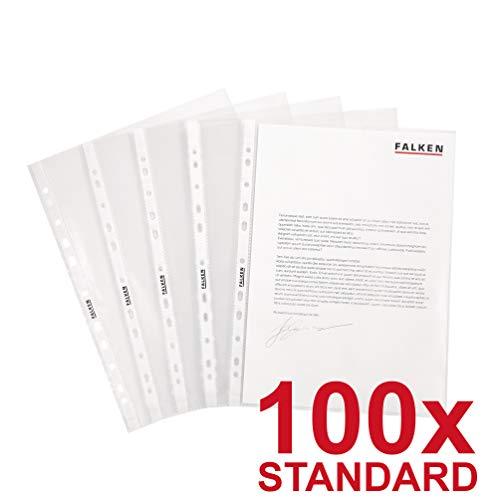 Original Falken 100er Pack Standard PP-Kunststoff Prospekthüllen. Für DIN A4 transparent glasklar oben offen Klarsichtfolie Plastikhülle Klarsichthülle ideal für Ordner Ringbücher und Hefter