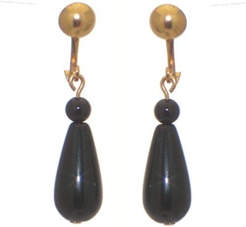 RIYA gold plated black dyed onyx teardrop clip on earrings
