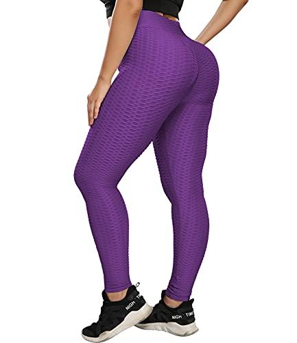 COMFREE Leggings Mujer Leguins Mallas Deportivos Leggins Push Up Pantalones Yoga Legins Deporte Fitness Pantalón Cintura Alta Control de Barriga Transpirables Morado M