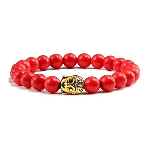 THj Pulsera, Pulsera de Cabeza de Buda de Color Dorado Retro Pulsera de Perlas de turquesas de Piedra Natural de 8 mm Pulseras para Hombres Mujeres Brazaletes/con Caja de Regalo, Rojo