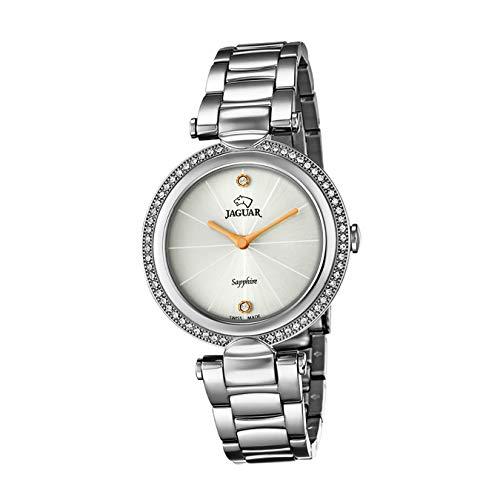 JAGUAR Reloj Modelo J829/1 de la colección Cosmopolitan, Caja de 34,5 mm Blanco con Correa de Acero para señora
