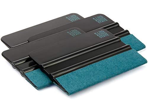 Kunststoff-Rakel 4er Pack von KING KONG STATE ® - hochwertige Folienrakel mit Alcantara-Überzug 10 x 7,3 cm