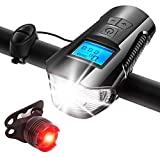 AIRSOFTPEAK Bike Light Set Bike Lights Front and Back Bicycle Speedometer Bike Computer Odometer USB Rechargeable Bicycle Headlight & Free Taillight with Horn/Alarm Bell for Safe Cycling