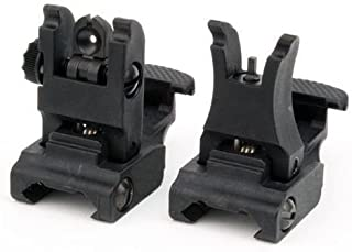 GBO MUDCAT Outdoors Front and Rear Sights for 223 Flat Top Rifles Low Profile Flip-Up Set Black BUIS