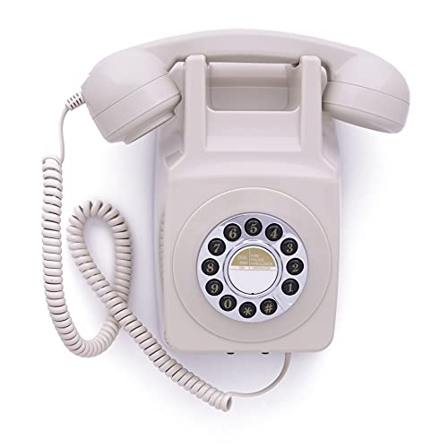GPO 746 Teléfono fijo retro de pared con pulsación de botones - Cable en espiral, timbre auténtico - Marfil