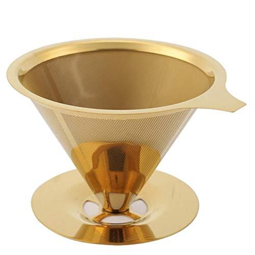 Kaffeefilter, doppelwandig, Edelstahl, Titan, Gold, Pour Over Coffee Dripper Filter mit Becherständer und Griff  