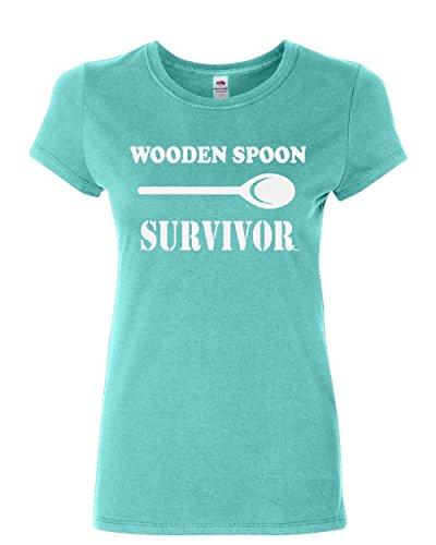Wooden Spoon Survivor Cotton T-Shirt Funny College Humor Light Blue M