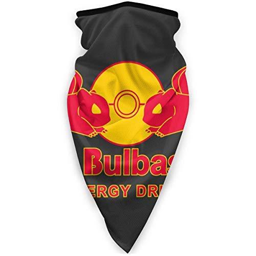 WH-CLA Cuello Bufanda,Monster of The Pocket Red Bulbasaur Bebida Energética,Sombreros Elástico Pasamontañas Impreso Calentador De Cuello para Partido Motocicleta Yoga