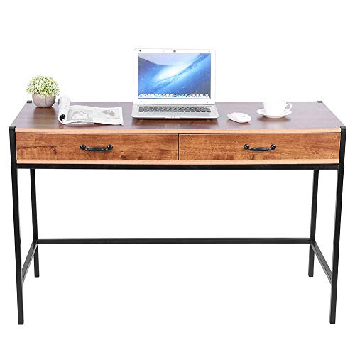 Schreibtisch für Arbeitszimmer, Büro, Computertisch, Spieltisch, Metall + MDF, Eiche, 120 x 48,5 x 76 cm