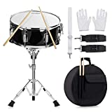 14 inch Snare Drum Set with Gig Bag, a pair Sticks,drum Stand and Drum Keys,a pair practice gloves for Students,Beginners (14'', Black)