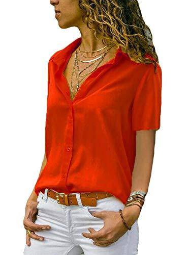 ASKSA Damen Bluse Chiffon Elegant Langarm Oberteile Einfarbig V-Ausschnitt Lose Hemdbluse T-Shirt Tops (Z-Orange, S)