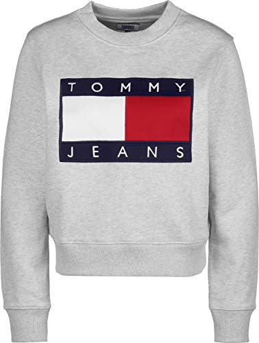 Tommy Jeans Sudadera Flag Crew Gris para Mujer