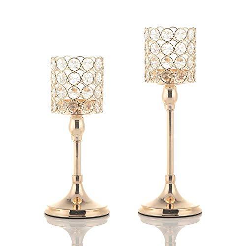 VINCIGANT Gold Kristall Kerzenständer gesetzt für Hochzeit Geschenk Büro Dekoration Jahrestag Feier Tabelle Kernstück,25cm&30cm Höhe