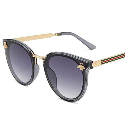 XCVB Dames zonnebril Ovaal metalen frame Little Bee Heren zonnebrilSportbril, grijs