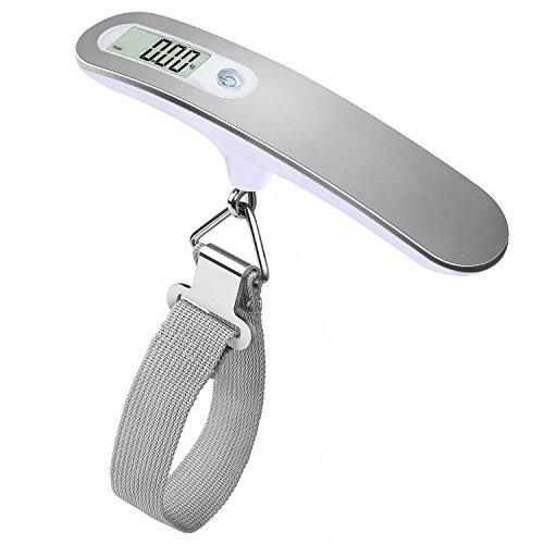 QUMOX Bilancia Digitale Pesa Bagagli Valigie 50kg/110lb Funzione Tara LCD Display Bilancia Pesa Valigie Portatileappeso pesante