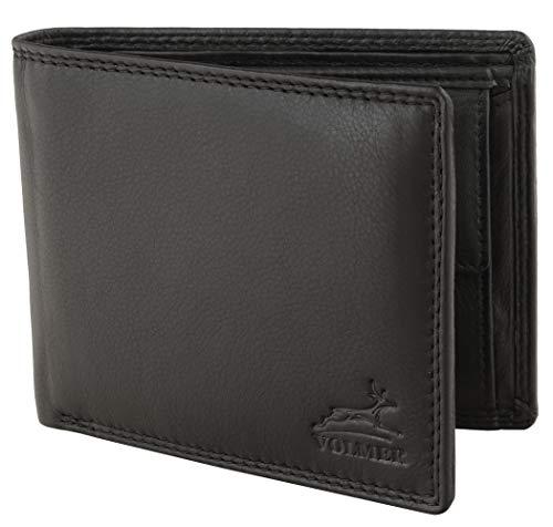 Fa.Volmer® Herren Leder Geldbörse schwarz mit RFID-Schutz Echtleder Geldbeutel Portemonnaie Used Look #VO19 (schwarz)