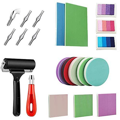 ZBSM Kit de FabricacióN de Sellos de Goma de 21 Piezas, Kit de Herramientas de Tallado, Bloques de Tallado de Goma en Diferentes Estilos de Color, para Tallado de Sellos Artesanales