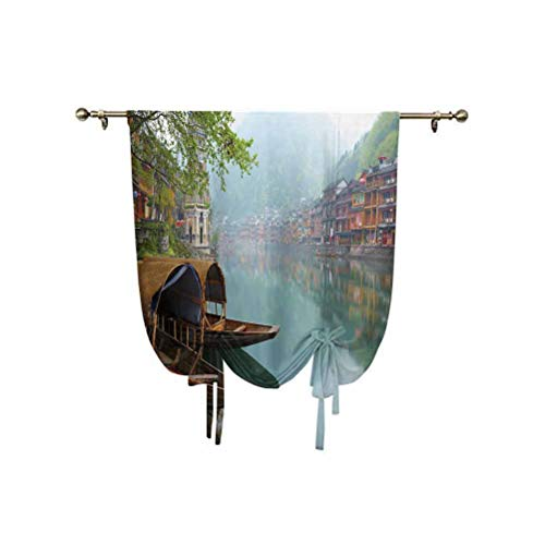 Ancient China Decoration Tie Up Shades Panels, Antique Town Misty Mountains Houses Waterside Boats Vista panoramica Tenda a palloncino regolabile, 79 x 150 cm, per finestra del bagno Multicolore