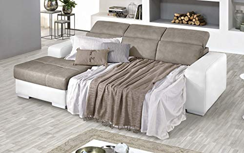 Dafnedesign.Com - Sofá cama esquinero de 3 plazas con chaise longue a la izquierda Piel sintética de color blanco, efecto nobuk topo (cm. 259 x 178 x 94 cm.