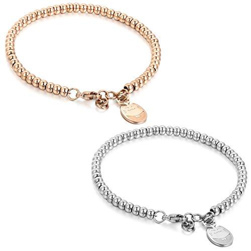 Flongo BFF Armband Armkette Freundschaftsketten, 2 Stück Edelstahl Armband Armreifen Armkette Silber Rose Gold Kugel Kette Perle Perlen Glückliche Katze Kätzchen Elegant Herren,Damen Set