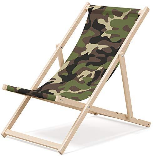 OUTENTIN Gartenliege klappbar, Liegestuhl aus Holz, Sonnenliege, Klappstuhl, Relaxliege, mehrere einzigartige Muster, Motiv:Camouflage Farben